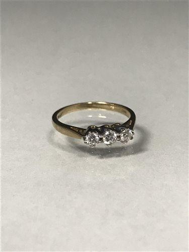 Lot 9-A DIAMOND THREE STONE RING