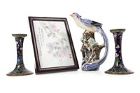 Lot 952-A CHINESE BIRD, CLOISONNÉ CANDLESTICKS AND A PLAQUE