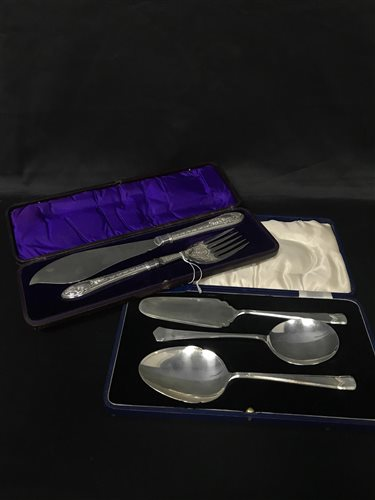 Lot 1-A VICTORIAN FISH SLICE AND SERVING SET