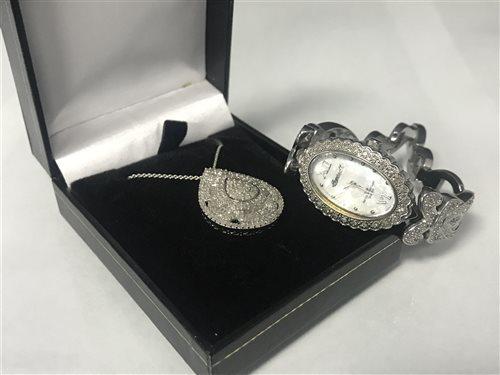 Lot 17-A DIAMOND SET BRACELET WATCH AND DIAMOND PENDANT