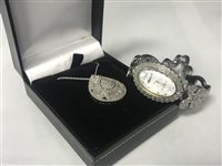 Lot 17-A DIAMOND SET BRACELET WATCH AND DIAMOND PENDANT