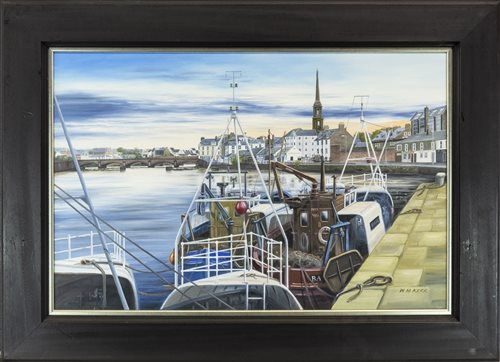 Lot 129-HARBOUR SCENE, BY WILLIAM MCLEAN KERR
