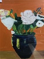 Lot 31-FINLAY MACKINTOSH, VASE OF FLOWERS, OIL ON BOARD