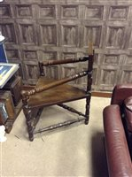 Lot 908-AN OAK ARMCHAIR