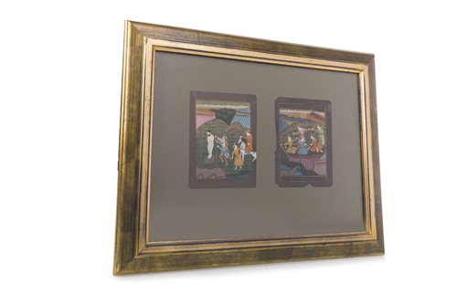 Lot 957-A FRAMED PAIR OF INDIAN MUGHAL PAINTINGS