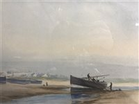 Lot 47-MAURICE DAVIS, BEACHED BOAT WITH FIGURES
