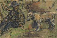 Lot 620-AN ORIGINAL PASTEL DEPICTING A MAN WITH HIS DOG