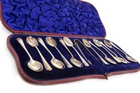 Lot 726-A SET OF VICTORIAN SILVER TEASPOONS AND TONGS