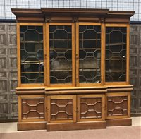Lot 912-A VICTORIAN OAK BREAKFRONT LIBRARY BOOKCASE