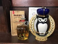 Lot 6-PADDY CORK 800 & JAMES BEAM CERAMIC OWL DECANTER