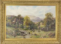 Lot 631-FIGURES BY A COTTAGE, BY ROBERT JOHN HAMMOND