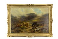 Lot 498-HIGHLAND CATTLE IN A SCOTTISH LANDSCAPE, BY LOUIS BOSWORTH HURT
