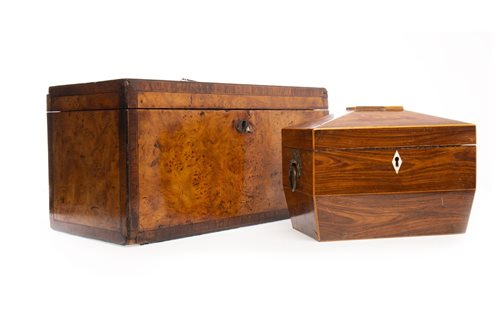 Lot 916-A LATE GEORGE III BURR WALNUT OBLONG TEA CADDY AND ONE OTHER