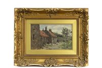 Lot 634-AN OIL ON PANEL DEPICTING RURAL SCENE WITH ANIMALS