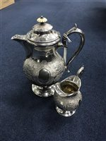 Lot 22-LATE VICTORIAN SILVER PLATED FOUR PIECE TEA SERVICE