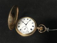Lot 11-A GOLD PLATED FULL HUNTER POCKET WATCH