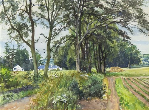 Lot 421-BY ROAD AT MILNFIELD, AN ORIGINAL WATERCOLOUR BY JAMES MCINTOSH PATRICK