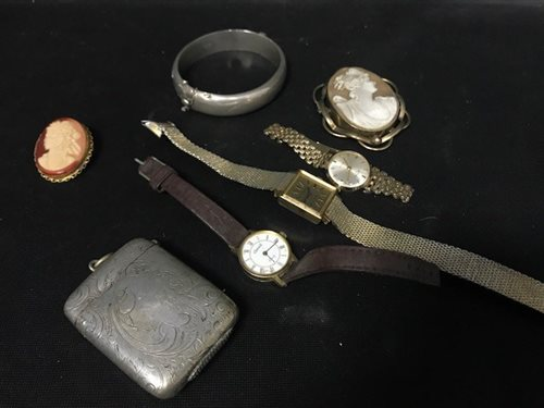 Lot 10-A LADY'S ROTARY 21 JEWELS WRIST WATCH AND COSTUME JEWELLERY