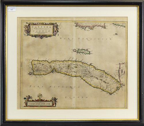 Lot 925-A 17TH CENTURY MAP OF 'CANTYRA' BY JOHANNES BLAEU