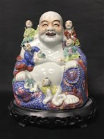 Lot 87-A 20TH CENTURY CHINESE POLYCHROME CERAMIC BUDDHA WITH OTHER FIGURES