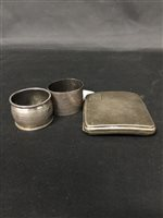 Lot 52-A SILVER CIGARETTE CASE WITH TWO SILVER NAPKIN RINGS