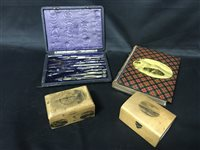 Lot 23-A COLLECTION OF MAUCHLINE ITEMS AND A SET OF DRAWING INSTRUMENTS