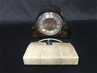 Lot 50-A SNAKESKIN DESIGNER HANDBAG AND A CLOCK