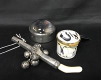 Lot 24-A MOORCROFT PILL BOX WITH A SILVER MOUNTED MAGNIFYING GLASS AND SILVER BABY RATTLE