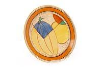 Lot 1231 - A CLARICE CLIFF FANTASQUE BIZARRE PLATE IN 'MELON' PATTERN