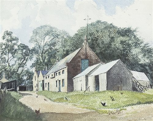 Lot 442-FARM NEAR TRINITY, AN ORIGINAL WATERCOLOUR BY JAMES MCINTOSH PATRICK