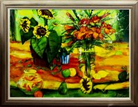 Lot 22-STILL LIFE WITH FRUIT AND FLOWERS, BY MARY GALLAGHER