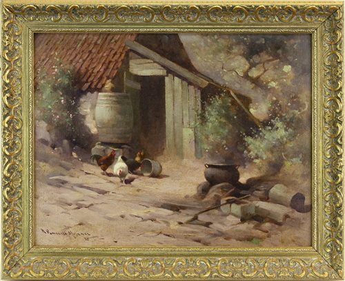 Lot 423-COTTAGE WITH HENS, BY ROBERT RUSSELL MACNEE