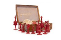 Lot 940-A 19TH CENTURY CARVED BONE CHESS SET