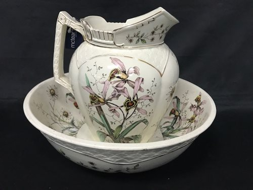 Lot 39-A VICTORIAN TRANSFERWARE EWER AND BASIN