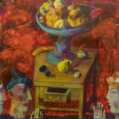 Lot 568 - TWO COMICS, AN OIL BY ANDREI BLUDOV