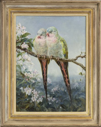 Lot 443-SPRING IDYLL, PARAKEETS, BY ROBERT MORLEY