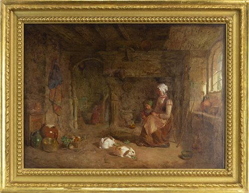 Lot 447-INTERIOR SCENE WITH RABBITS FEEDING, BY ALFRED PROVIS