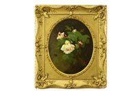 Lot 455-WHITE AND YELLOW ROSES, BY JAMES STUART PARK