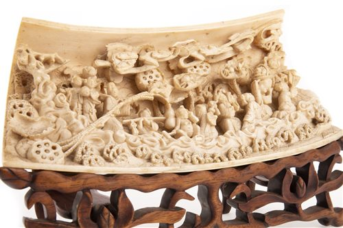 Lot 968-AN IMPRESSIVE CHINESE IVORY WRIST REST