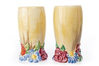 Lot 1259 - A PAIR OF CLARICE CLIFF FOR NEWPORT BIZARRE VASES