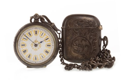 Lot 5-A CONTINENTAL SILVER WATCH AND VESTA CASE