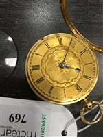 Lot 769-A VICTORIAN EIGHTEEN CARAT POCKET WATCH