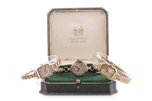 Lot 757-A LADY'S BEUCHE GIROD NINE CARAT GOLD WATCH ALONG WITH TWO OTHERS