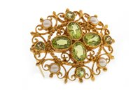 Lot 15-AN IMPRESSIVE GREEN GEM AND PEARL SET BROOCH PENDANT
