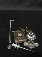 Lot 8-A GEORGE V SILVER AND ENAMEL BROOCH AND OTHER JEWELLERY