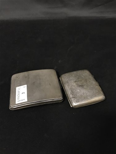 Lot 2-A SILVER CIGARETTE CASE AND ONE OTHER