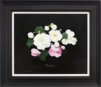 Lot 452-PINK AND WHITE ROSES, BY JAMES STUART PARK