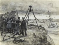 Lot 446-BREECHES BUOY RESCUE, BY CHARLES WILLIAM WYLLIE