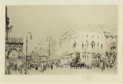 Lot 471-PICCADILLY, LONDON, AN ORIGINAL ETCHING BY WILLIAM WALCOT