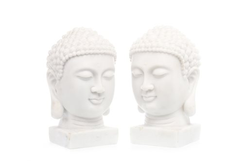 Lot 981-A PAIR OF ALABASTER BUDDHA HEADS